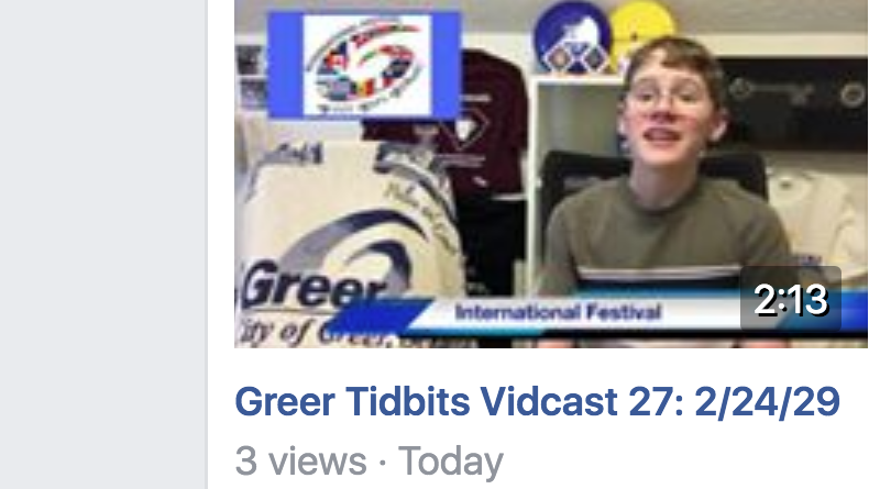 Greer Tidbits Vidcast 27: 2/24/19